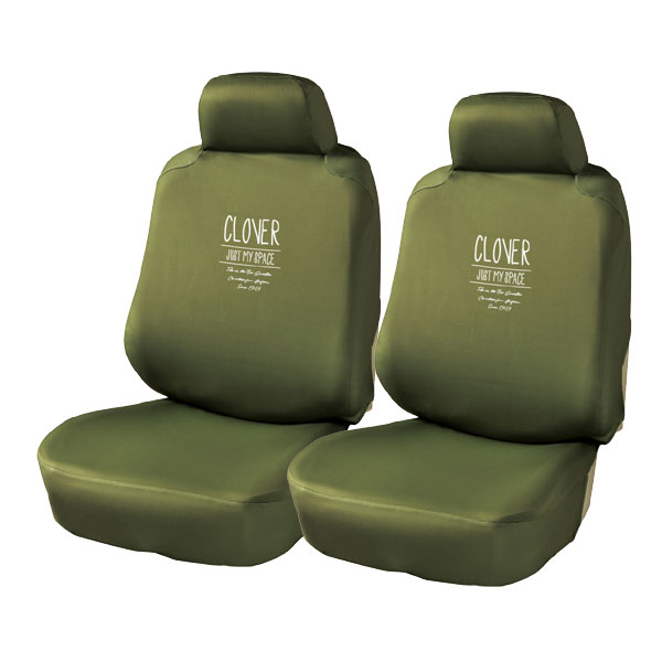 取付け簡単 直送商品 丸洗いOK バケットタイプフリーサイズシートカバー クローバー ギフ_包装 運転席 背裏ハーフカバータイプ 助手席セット カーキ