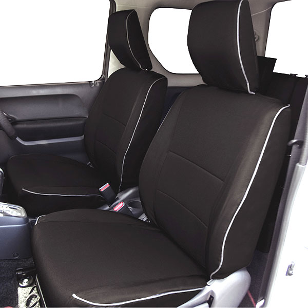 【M4-56】スズキ ジムニー(JB23W H26.10~H30.7)専用 撥水加工布シートカバー『ウォータープルーフ』(ブラック)1台分セット
