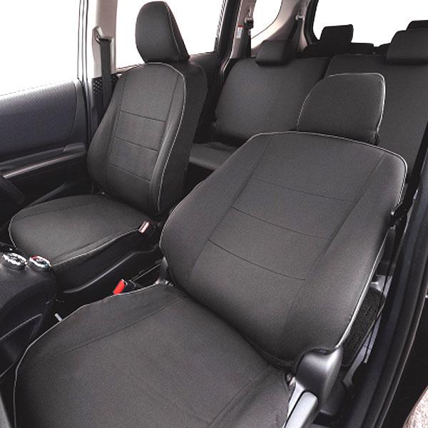 トヨタシエンタ(NHP170G・NSP170G・NCP175G)7人乗り専用撥水加工布シートカバー『ウォータープルーフ』(ブラック)1台分セット[H27.7〜]W7-36