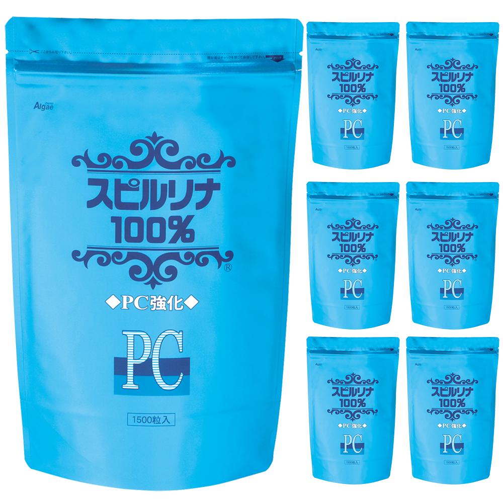 PC強化スピルリナ100% 1500粒 6袋購入で1袋無料プレゼントスーパーフード ホールフード 野菜不足 偏食 抗酸化 健康食品