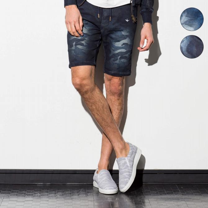 1PIU1UGUALE3 RELAX ウノピゥウノウグァーレトレ ジョグ デニム カモフラ サイドリブ ハーフ ショート パンツ メンズ ズボン ボトムス おしゃれ かっこいい ブランド 部屋着 ウェア ウノピュウ