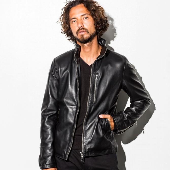 AKM Contemporary(エイケイエムコンテンポラリー) ラムレザーシングルライダースジャケット(ブラック)