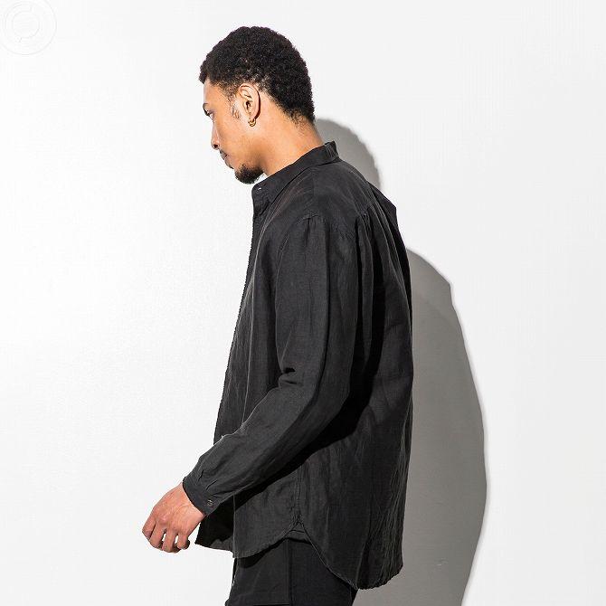 C DIEM(カルペディエム) ヘンプ混製品染シャツ(カーキベージュ/ブラック)