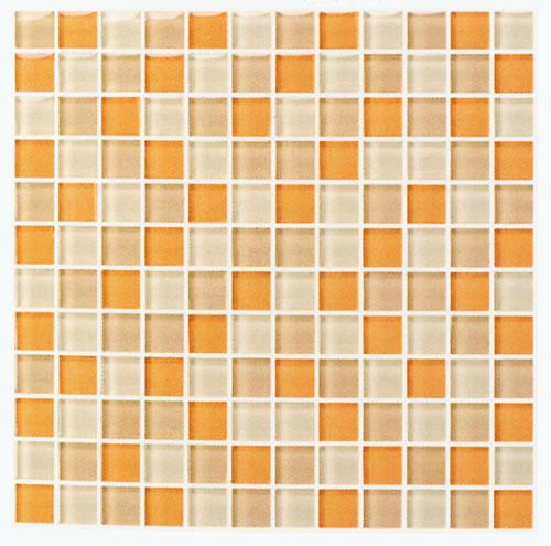 ●モザイク ガラスタイル オレンジmix30センチ角 裏ネット貼 1ピース23x23x8mm144個  11枚(1ケース)【送料無料】(但し沖縄2000円加算)