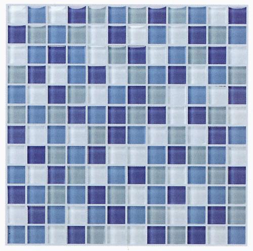 ●モザイク ガラスタイル ブルーmix30センチ角 シート 裏ネット貼 1ピース23x23x8mm144個  11枚(1ケース)【送料無料】(但し沖縄2000円加算)
