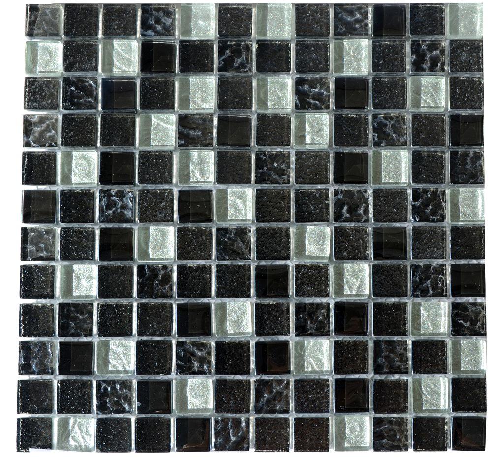 モザイク ガラスタイル ブラック&シルバー レリーフ入り30センチ角 シート 裏ネット貼 1ピース23x23x8mm144個  11枚(1ケース)【送料無料】(但し沖縄2000円加算)