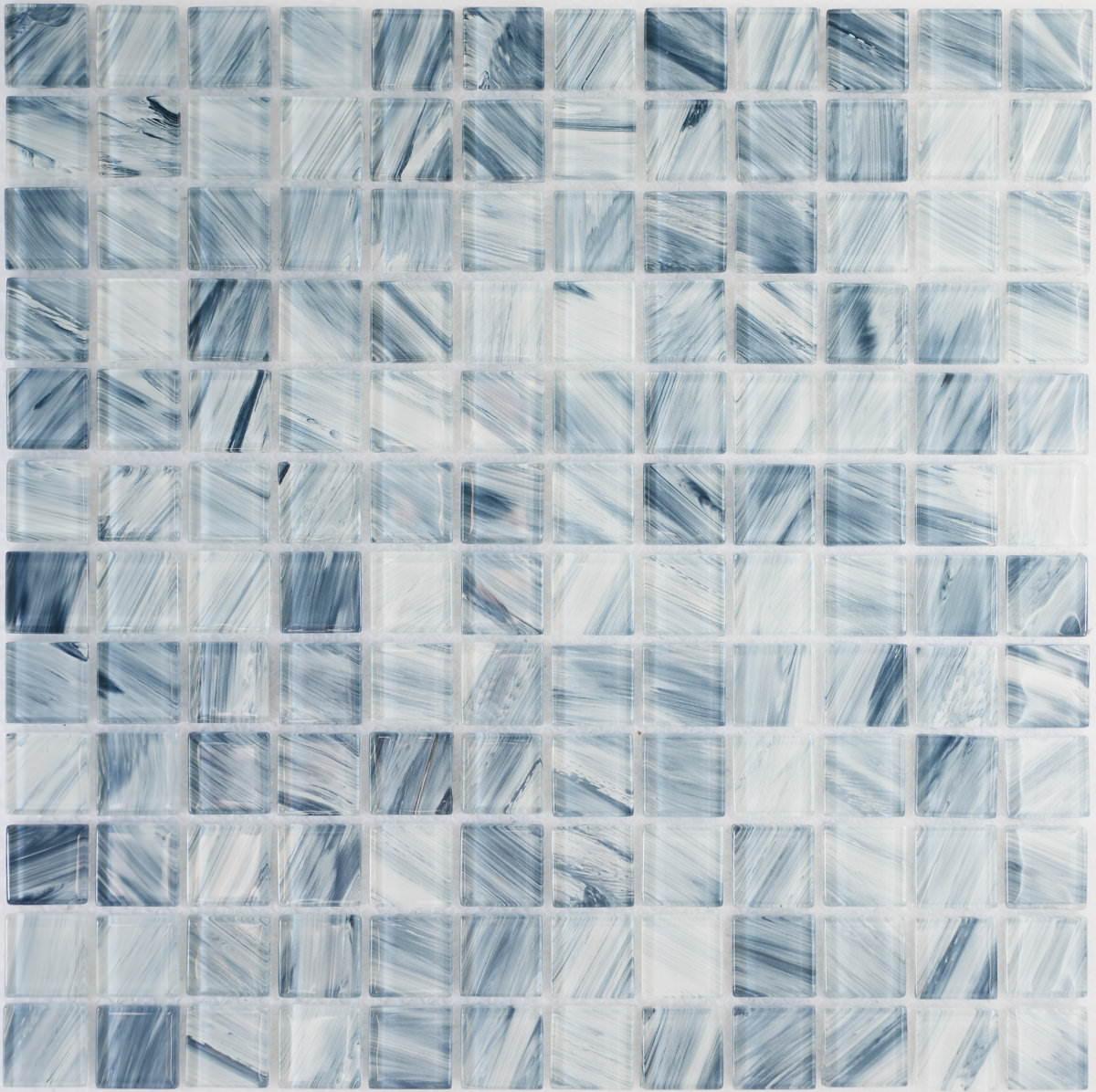 ●モザイク ガラスタイル ブルーストライプ30センチ角 11枚=1平米 シート 裏ネット貼 1ピース23x23x4mm144個送料サービス品(但し沖縄別)