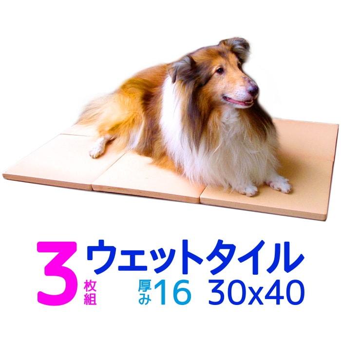 期間限定特価3枚組・数量限定 クールワン ウェットタイル30×40cm 3枚組 1.6cm厚 脚付冷却マット 全犬種・猫OK ひんやりグッズ マット 暑さ対策 犬 冷たい ひんやりクール マット 犬用品 夏対策 屋外でも冷たい