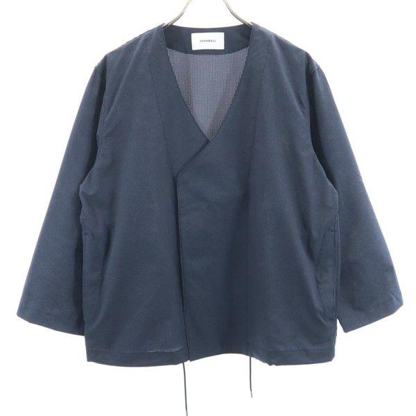 ジョンブル カラーレス ジャケット M メンズ 濃紺 未使用 人気海外一番 中古 品質検査済 ノーカラー 日本製 作務衣型 200503 Johnbull