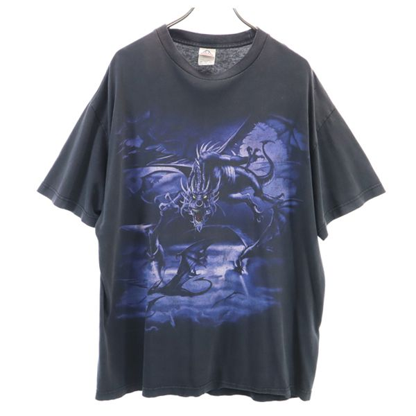 ドラゴン 00s コピーライト いよいよ人気ブランド 特価 半袖 Tシャツ XL 中古 黒 メンズ 200717 DRAGON