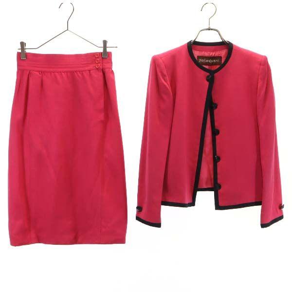 イヴサンローラン ジャケット お値打ち価格で ノーカラー スーツセットアップ スカート 安売り 9A3 レディース ピンク LAURENT YSL YVES SAINT 中古 201105