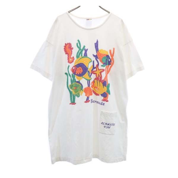 BERMUDA 90s オールド ヴィンテージ 変形 ロング FISH柄 半袖 不明 210722 プリント メンズ Tシャツ 限定価格セール 1着でも送料無料 ホワイト 中古