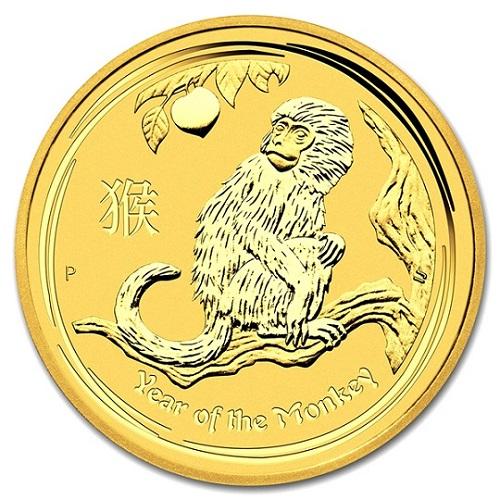 【純金 コイン 金貨】24金 干支金貨 猿(申)1/10オンス 2016年製 お守り ゴールドコイン 干支十二支 さる コインケース入り
