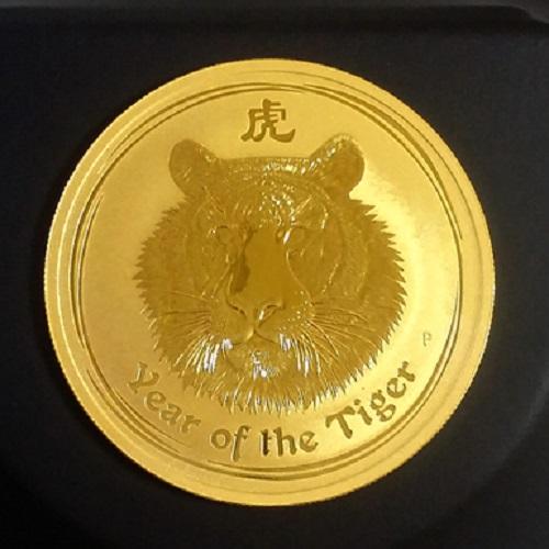 【純金 コイン 金貨】(純金コイン)24金 干支 金貨 虎 寅 1オンス 2010年 オーストラリアパース発行 クリアケース付 (縁起物 送料無料 99.99 gold coin au tiger Australia zodiac)