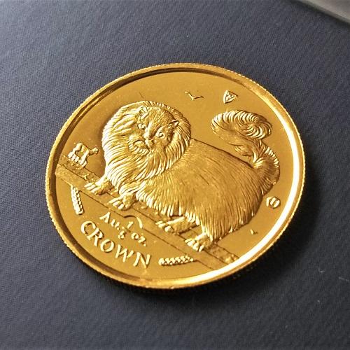 【猫 コイン】24金 キャット金貨 1/5オンス 1997年製 マン島政府発行 コインケース付き 純金 金 ゴールド コイン 品位 99.99% 硬貨 貨幣 ネコ