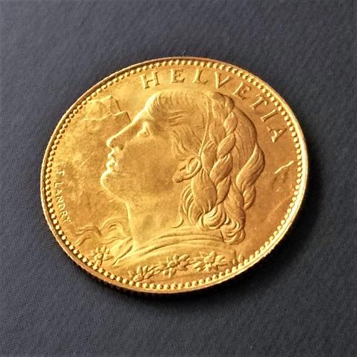 【金貨 コイン】アルプスの少女 10フラン金貨 1922年 スイス ヘルヴェティア Helvetica ブレネリ ゴールドコイン