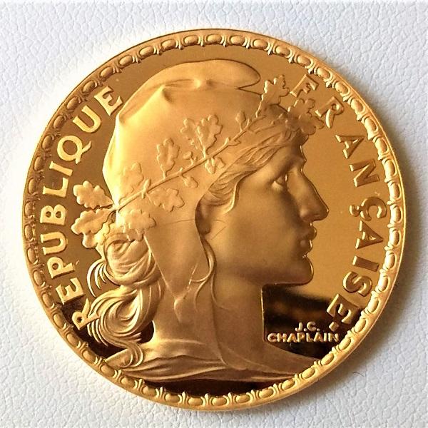 【金 コイン 金貨】100フラン金貨 2000年 プルーフ加工 フランス 100フラン ボックス付き