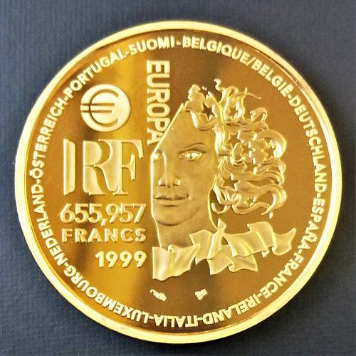 【金 コイン 金貨】フランス金貨 655,957フラン ART ROMAN 1999年 送料無料 EUROPA ゴールドコイン