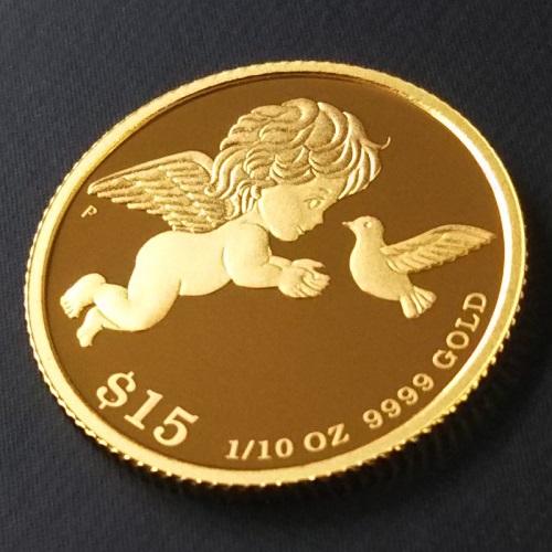 【純金 コイン 金貨】24金 ツバルエンジェル金貨 1/10オンス(大) ツバル政府  幸福を運ぶ純金の天使と鳩。純金ゴールドコインをお守りに。アミュレット(K24/99.99%)