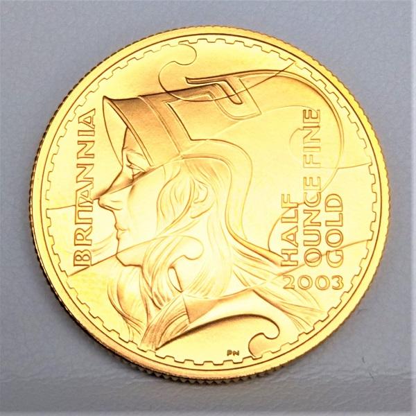 【金 コイン 金貨】ブリタニア金貨 1/2オンス 2003年製 ゴールドコイン 50ポンド イギリス 保証書付