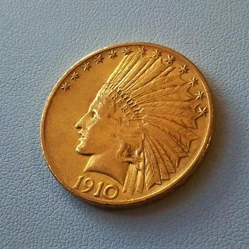 【金 コイン 金貨】インディアン金貨 アメリカ 10ドル金貨 1910年 保証書付 USA