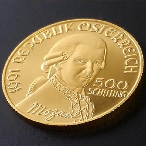 【金 コイン 金貨】オーストリア金貨 モーツァルト 500シリング 1991年 プルーフ加工 送料無料 モーツアルト