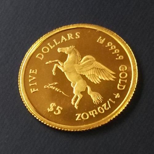 24金 ペガサス金貨 1/20オンス 2006年 クック諸島 ゴールドコイン マザーズラブ 額面5ドル 保証書付き