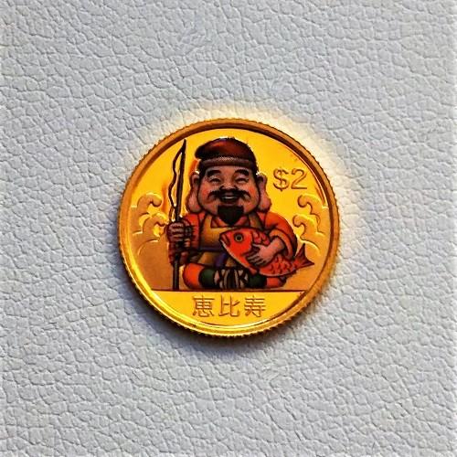 【純金 コイン 金貨】24金 七福神金貨 1/25オンス 恵比寿 2010年 ツバル政府幸福を運ぶ純金の七福神。(K24/99.99%)