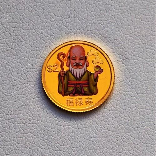 【純金 コイン 金貨】24金 七福神金貨 1/25オンス 福禄寿 2010年 ツバル政府幸福を運ぶ純金の七福神。(K24/99.99%)