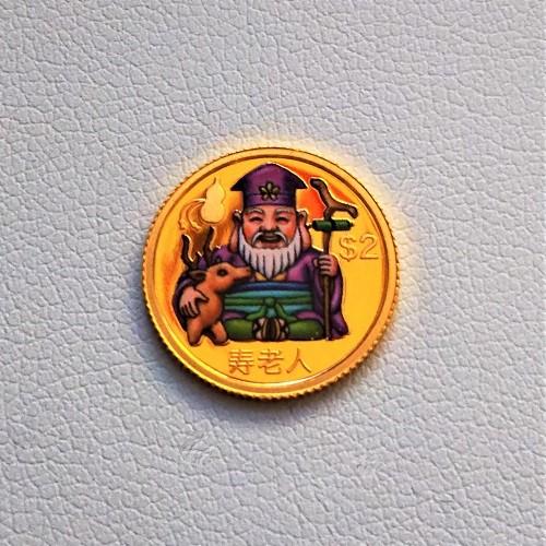 【純金 コイン 金貨】24金 七福神金貨 1/25オンス 寿老人 2010年 ツバル政府幸福を運ぶ純金の七福神。(K24/99.99%)