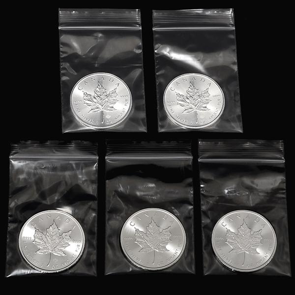 純銀のメイプル銀貨 メープルリーフ カナダ王室造幣局発行 買い取り 混じり気のない白く美しい純銀の輝き5枚組 純銀コイン 1オンス×5枚 年代フリー メイプル銀貨 5☆好評 5枚セット クリアケース入り
