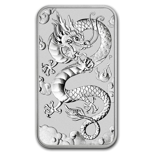 純銀インゴット ドラゴン シルバーバー 1オンス 2019年製 オーストラリアパース造幣局純銀 銀 シルバー コイン 品位 99.9% 硬貨 貨幣 バー ドラゴン 竜