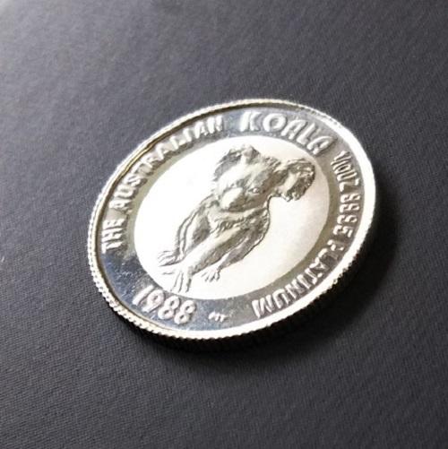 【プラチナ コイン コアラ】コアラプラチナ貨 1/10オンス 1988年製 オーストラリア純プラチナ 白金 白金貨 9995 platinum the australian koala pt エリザベス女王