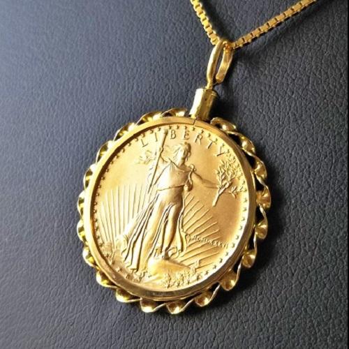 【ゴールド ネックレス コイン】イーグル金貨 1/4オンス 18金飾り枠 ゴールドコインペンダント