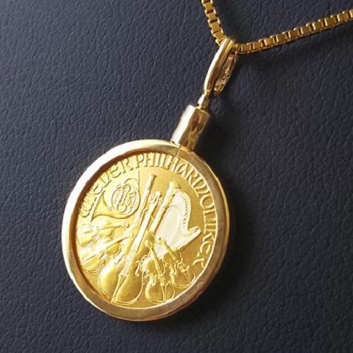 【純金 ネックレス コイン】24金 ウィーン金貨 1/10オンス オーストリア造幣局 18金 ねじ止め枠 保証書付