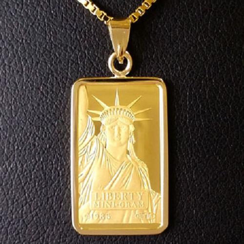 【純金 ネックレス インゴット】 24金 スイスクレジット リバティー ネックレス 2g 18金 ツメ枠 (自由の女神 gold ingot necklace 24k k24 suisse credit liberty )ゴールドバー