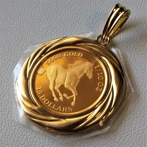 ツバルホース金貨 ネックレス 1/10オンス 18金伏せ込枠37 コイン ペンダントトップ メンズ jewelry 馬 純金 ネックレス コイン サービスチェーン付き
