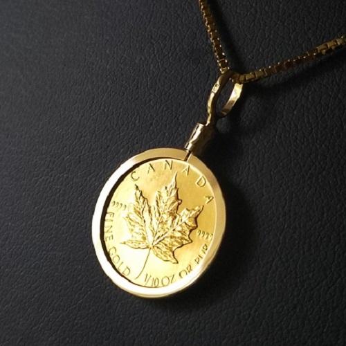 【純金 ネックレス コイン】24金 メイプル金貨 1/10オンス カナダ王室造幣局発行 18金 ねじ止め枠 保証書付