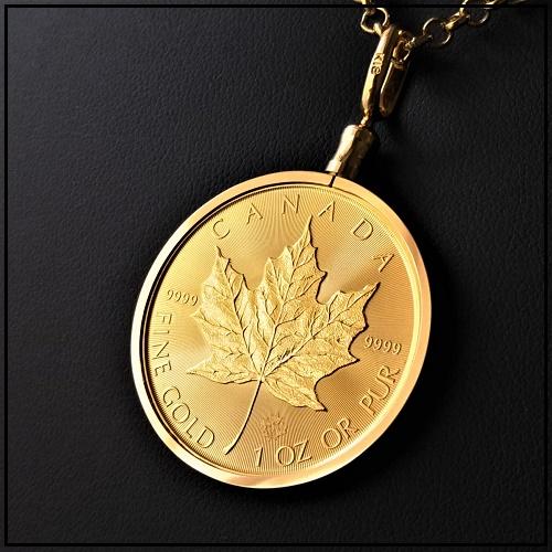 純金コインネックレス。カナダのメープル金貨の存在感が大きく輝く!大サイズの1オンスコインペンダントです。 【純金 金貨 ペンダント】メイプル金貨 1オンス 18金ねじ枠 ゴールドコインペンダント カナダ王室造幣局発行 メープル K18 ゴールド枠