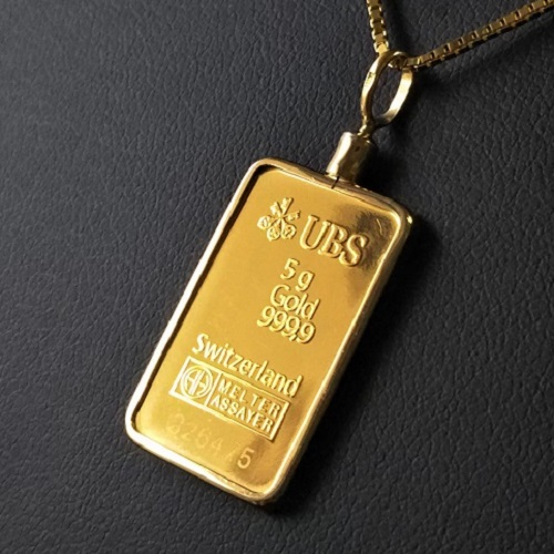 【純金 ネックレス インゴット】 24金 UBSゴールドバー 5g 18金 ねじ枠 (送料無料 gold ingot k24 fine gold 9999 jewelry メンズ)