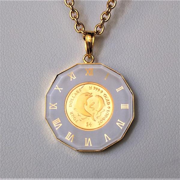24金 イルカ金貨 1/30オンス 18金白時計枠 チェーン付 ゴールドネックレス24k ペンダント(いるか、ドルフィン)マザーズラブ