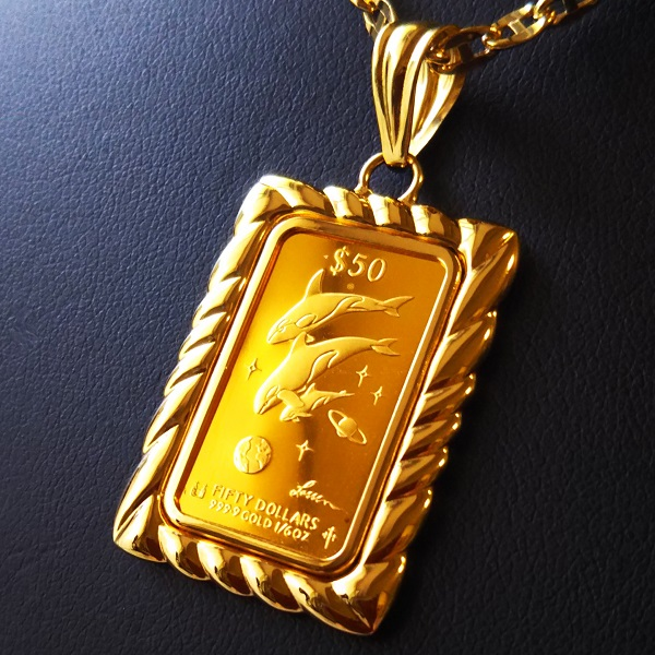【純金 ネックレス インゴット】 24金 ラッセンゴールドバー 1/6オンス 2000年製 18金 ツメ飾り枠 (gold ingot k24 fine gold 9999 jewelry Lassen イルカ メンズ レディース)