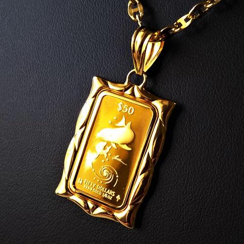 【純金 ネックレス インゴット】 24金 ラッセンゴールドバー 1/6オンス 2002年製 18金 ツメ飾り枠 マザーズラブ(gold ingot k24 fine gold 9999 jewelry Lassen イルカ メンズ レディース)