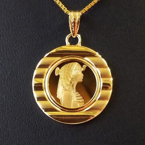 【純金 コイン ネックレス】クレオパトラ金貨 1/25オンス 18金 飾りツメ枠10 スイスパンプ社エジプト 女王クレオパトラ ピラミッド 砂漠 ラクダ ゴールド ネックレス 純金 金コイン 品位 99.99% jewelry