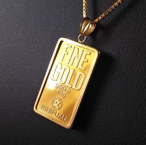 【純金 インゴット ペンダント】24金 石福ゴールドバー 10g 18金枠 (送料無料 gold ingot k24 fine gold 9999 jewelry メンズ)