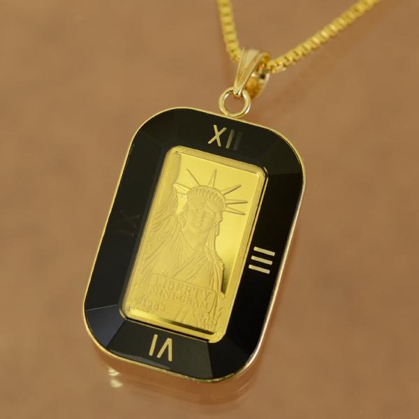 【純金 ネックレス インゴット】 24金 スイスクレジット リバティー ネックレス 1g 18金 角型黒時計枠 (自由の女神 gold ingot necklace 24k k24 suisse credit liberty jewelry )