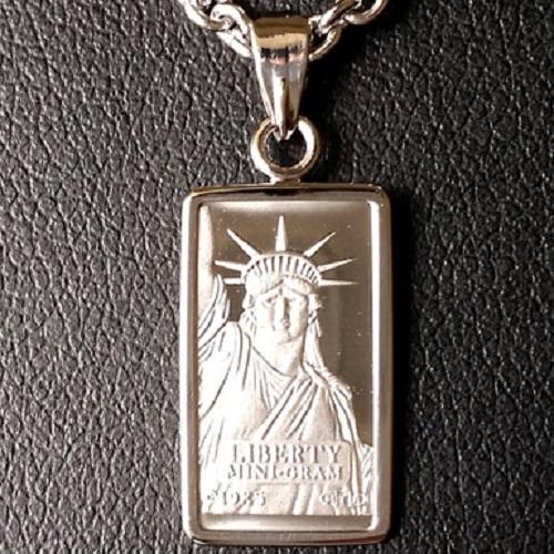 【プラチナ ネックレス インゴット】 プラチナバー スイスクレジット リバティー ネックレス 1g プラチナ 850 ツメ枠 (自由の女神 platinum ingot necklace suisse credit liberty jewelry )