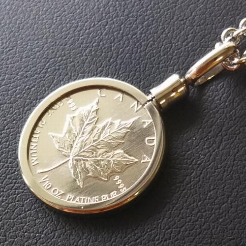 【純プラチナ ネックレス コイン】メイプル プラチナ貨 1/10オンス PT850 ねじ枠 プラチナコインペンダント