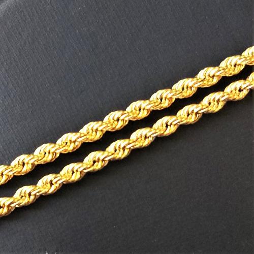 【18金 チェーン ネックレス 60センチ】(K18ペンダントチェーン)18金 ネックレスチェーン ロープ 60センチ 中空加工 ゴールドネックレス デザインチェーン K18 gold jewelry necklace