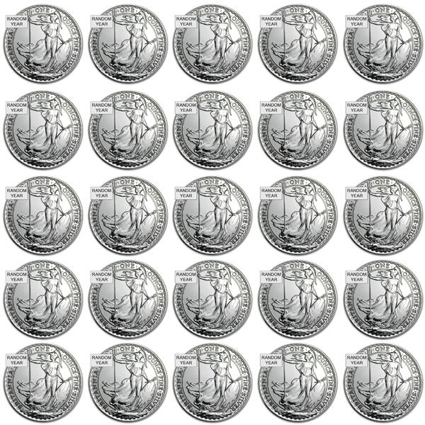 ★25個セット★【新品・未開封】『ブリタニア銀貨 1オンス ランダム・イヤー クリアケース入り 25個セット』イギリス王立造幣局発行 31.1gの純銀 x 25枚品位:99.9% 純銀 シルバー コイン Silver《安心の本物保証》【保証書付き】
